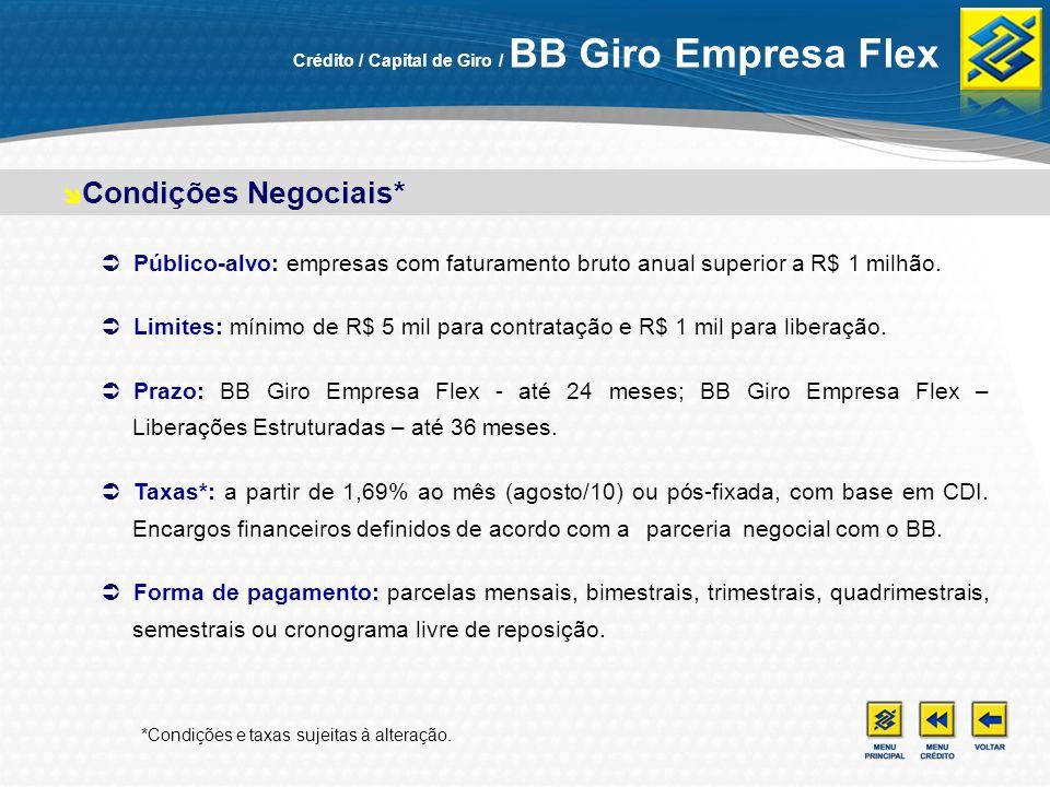 Público-alvo: empresas com faturamento bruto anual superior a R$ 1 milhão. Limites: mínimo de R$ 5 mil para contratação e R$ 1 mil para liberação. Pra
