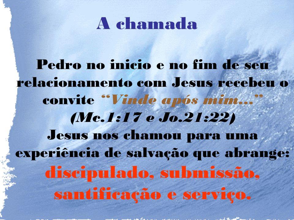 A chamada Pedro no inicio e no fim de seu relacionamento com Jesus recebeu o convite Vinde após mim...