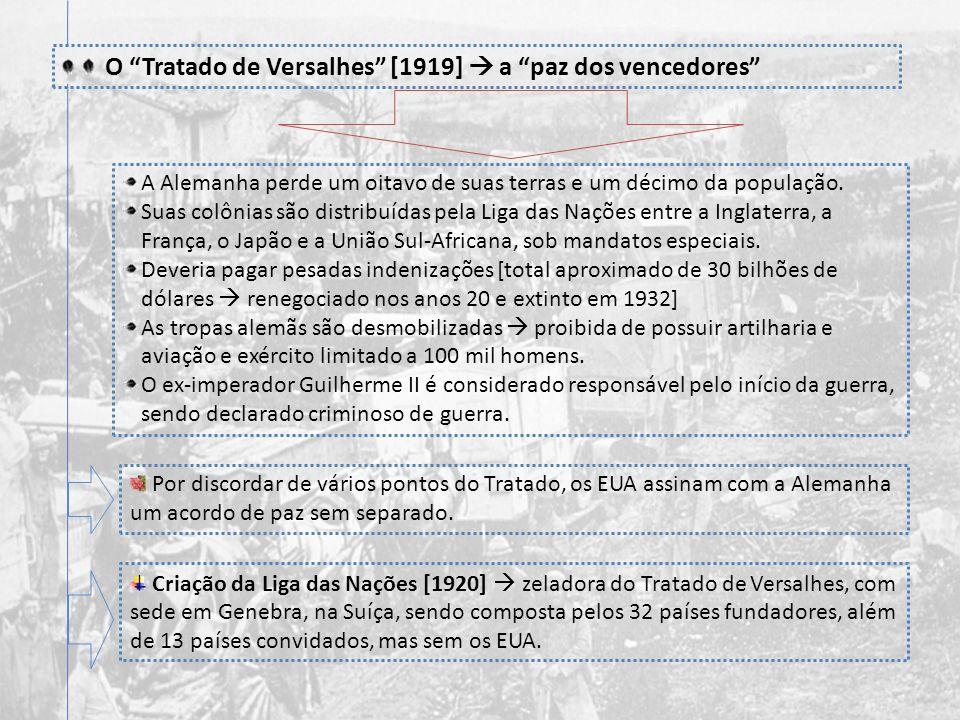 Os 14 pontos de Wilson paz sem vencedores devolução da Alsácia-Lorena à França; libertação da Bélgica; reconstituição da Polônia; fim dos tratados sec