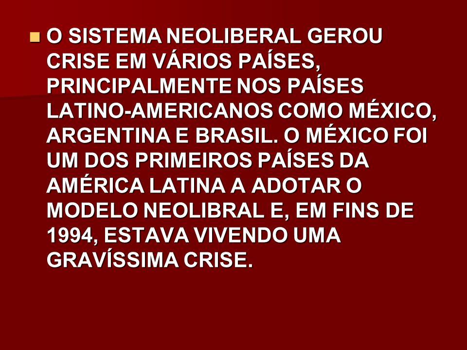O SISTEMA NEOLIBERAL GEROU CRISE EM VÁRIOS PAÍSES, PRINCIPALMENTE NOS PAÍSES LATINO-AMERICANOS COMO MÉXICO, ARGENTINA E BRASIL. O MÉXICO FOI UM DOS PR
