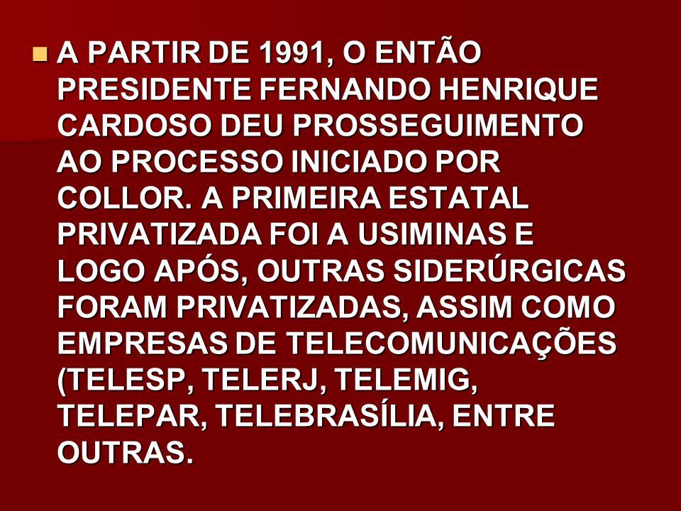 A PARTIR DE 1991, O ENTÃO PRESIDENTE FERNANDO HENRIQUE CARDOSO DEU PROSSEGUIMENTO AO PROCESSO INICIADO POR COLLOR. A PRIMEIRA ESTATAL PRIVATIZADA FOI