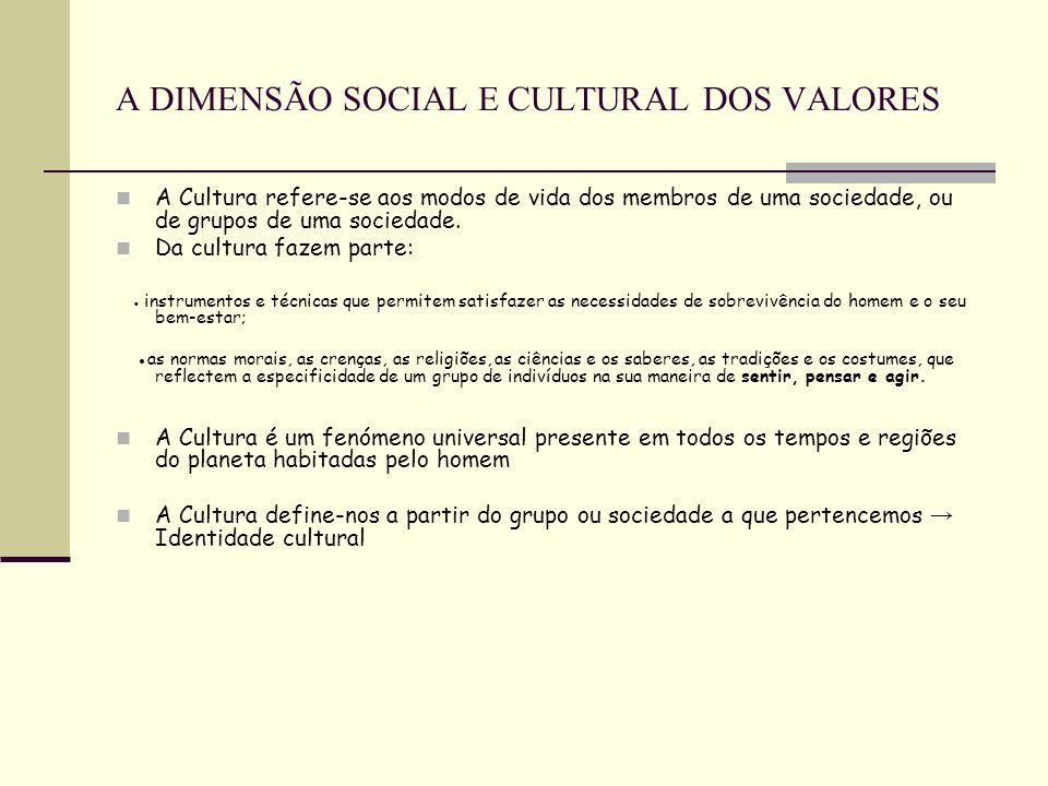 A DIMENSÃO SOCIAL E CULTURAL DOS VALORES A Cultura refere-se aos modos de vida dos membros de uma sociedade, ou de grupos de uma sociedade. Da cultura