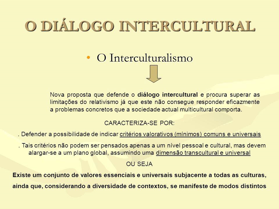 O DIÁLOGO INTERCULTURAL O InterculturalismoO Interculturalismo Nova proposta que defende o diálogo intercultural e procura superar as limitações do re