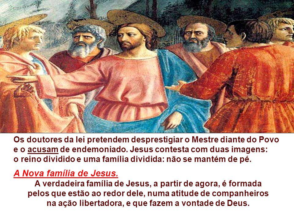 O Evangelho fala da Família de Jesus. (Mc 3, 20-35) Os familiares de Jesus chegam e, de fora, mandam chamá-lo. Não entram; ele que deve sair: querem l
