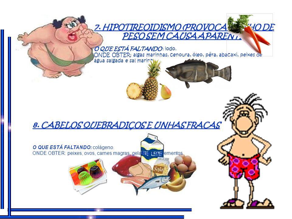 5. DESCONFORTO INTESTINAL, GASES, INCHAÇO ABDOMINAL O QUE ESTÁ FALTANDO : lactobacilos vivos ONDE OBTER: coalhada, iogurte, missô, yakult e similares.