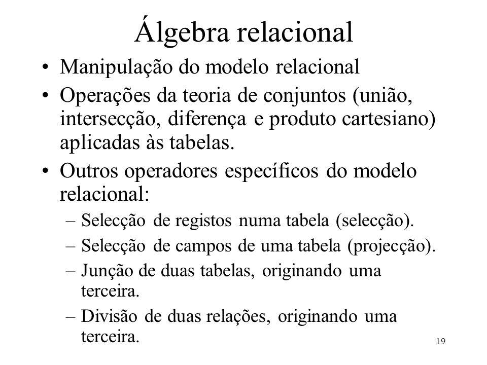 19 Álgebra relacional Manipulação do modelo relacional Operações da teoria de conjuntos (união, intersecção, diferença e produto cartesiano) aplicadas às tabelas.