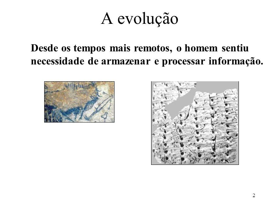 2 A evolução Desde os tempos mais remotos, o homem sentiu necessidade de armazenar e processar informação.