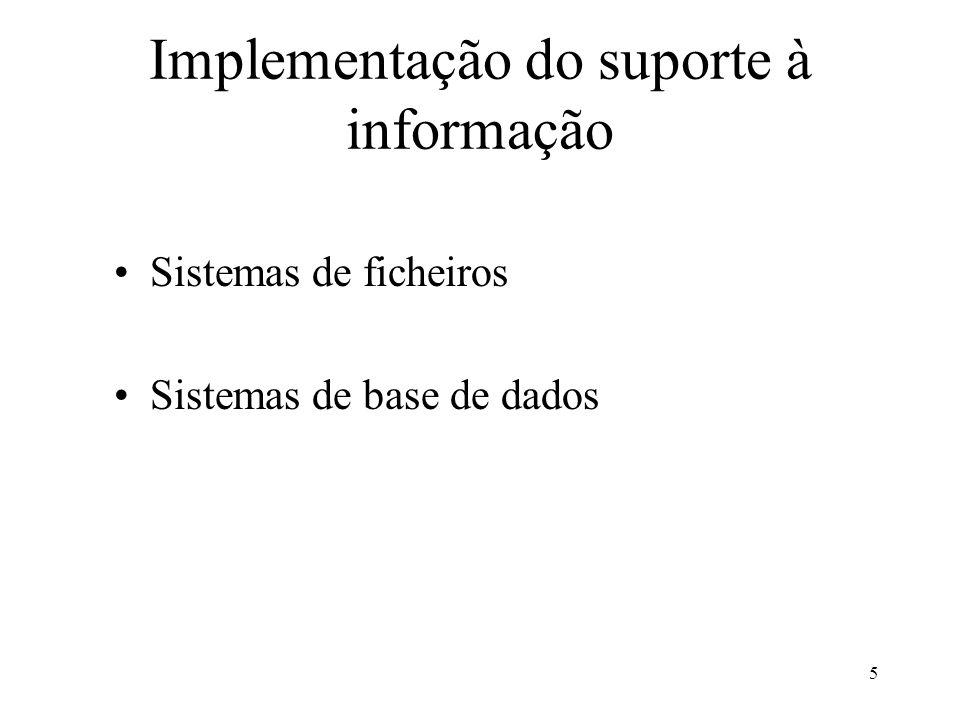 5 Implementação do suporte à informação Sistemas de ficheiros Sistemas de base de dados