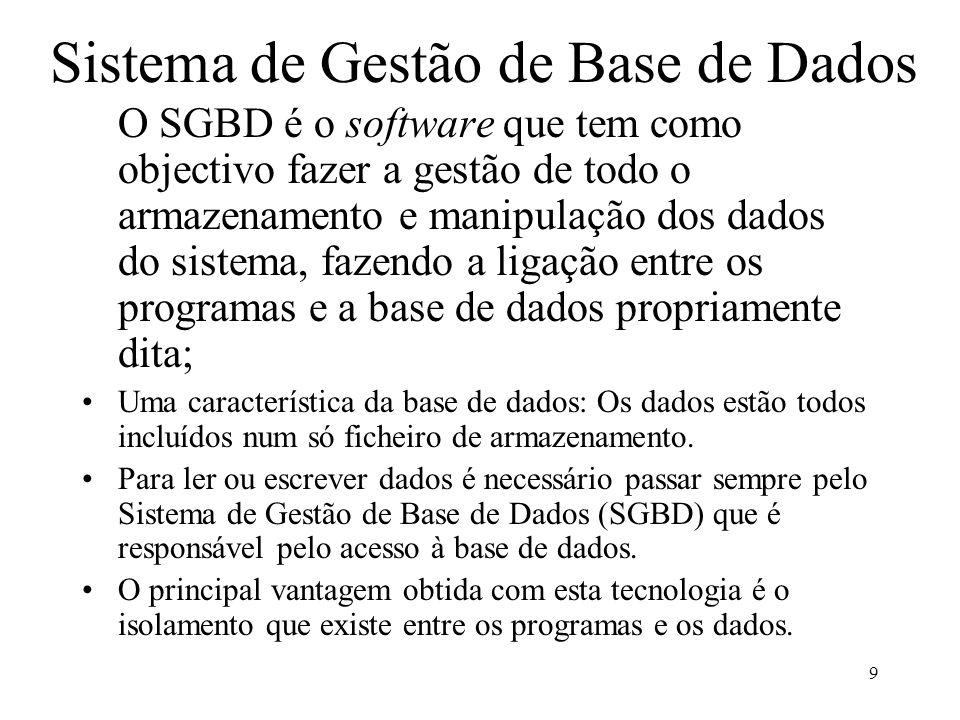9 Sistema de Gestão de Base de Dados O SGBD é o software que tem como objectivo fazer a gestão de todo o armazenamento e manipulação dos dados do sist