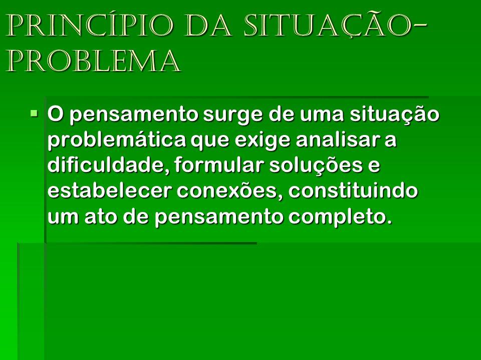 Princípio da situação- problema O pensamento surge de uma situação problemática que exige analisar a dificuldade, formular soluções e estabelecer cone