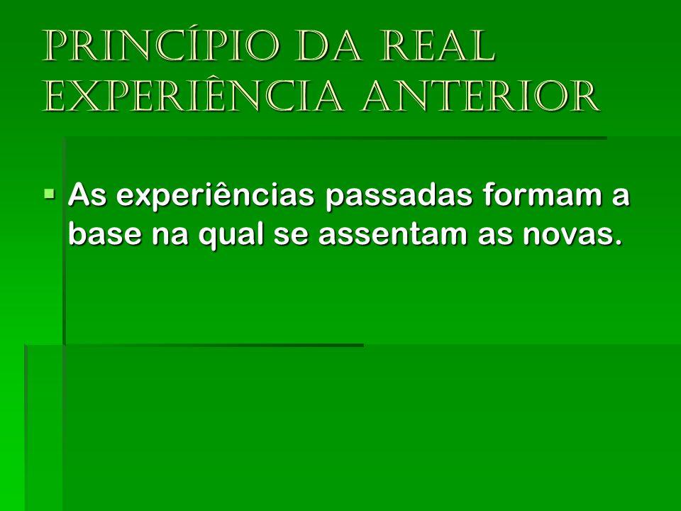 Princípio da real experiência anterior As experiências passadas formam a base na qual se assentam as novas. As experiências passadas formam a base na