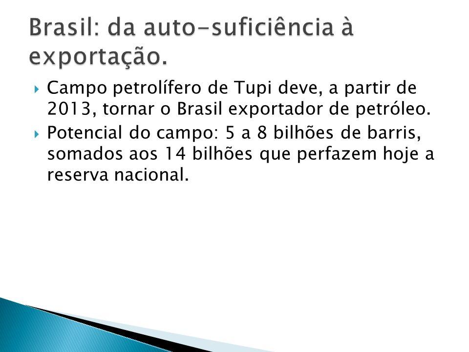 Campo petrolífero de Tupi deve, a partir de 2013, tornar o Brasil exportador de petróleo. Potencial do campo: 5 a 8 bilhões de barris, somados aos 14