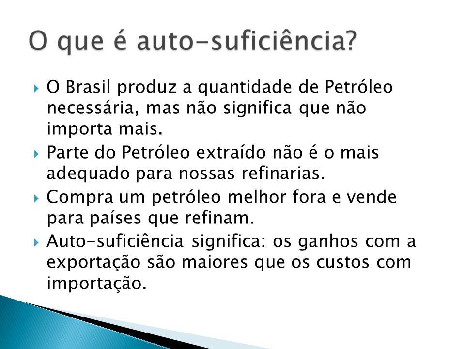 O Brasil produz a quantidade de Petróleo necessária, mas não significa que não importa mais. Parte do Petróleo extraído não é o mais adequado para nos