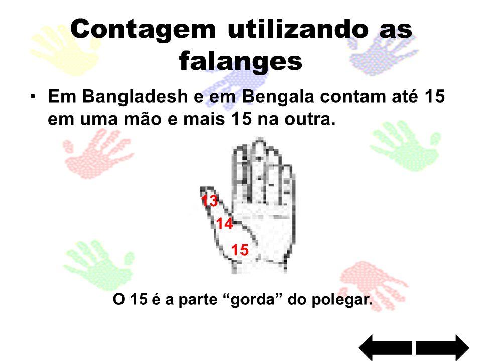 Contagem utilizando as falanges Em Bangladesh e em Bengala contam até 15 em uma mão e mais 15 na outra. O 15 é a parte gorda do polegar. 13 14 15
