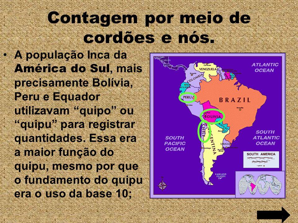 Contagem por meio de cordões e nós. A população Inca da América do Sul, mais precisamente Bolívia, Peru e Equador utilizavam quipo ou quipu para regis