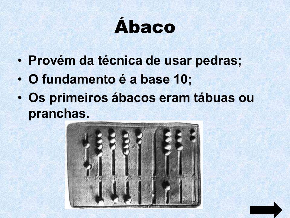 Ábaco Provém da técnica de usar pedras; O fundamento é a base 10; Os primeiros ábacos eram tábuas ou pranchas.