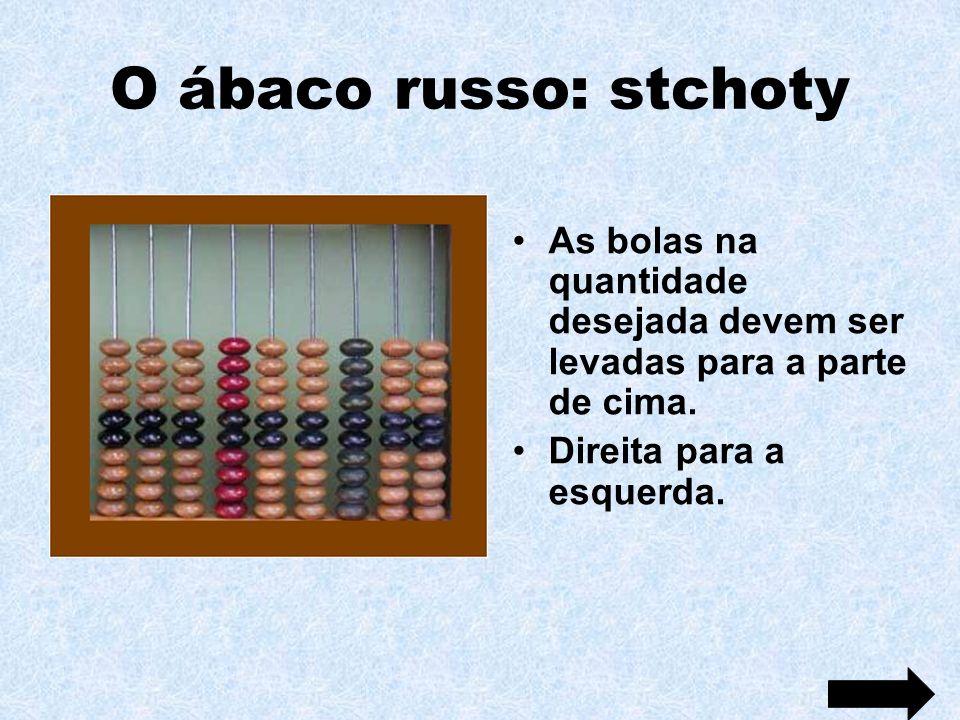O ábaco russo: stchoty As bolas na quantidade desejada devem ser levadas para a parte de cima. Direita para a esquerda.