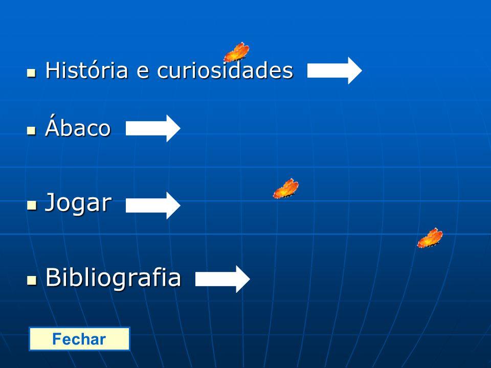História e curiosidades História e curiosidades Ábaco Ábaco Jogar Jogar Bibliografia Bibliografia Fechar