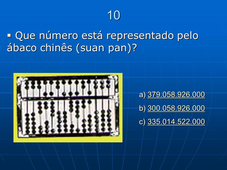 10 Que número está representado pelo ábaco chinês (suan pan)? Que número está representado pelo ábaco chinês (suan pan)? a)379.058.926.000 379.058.926