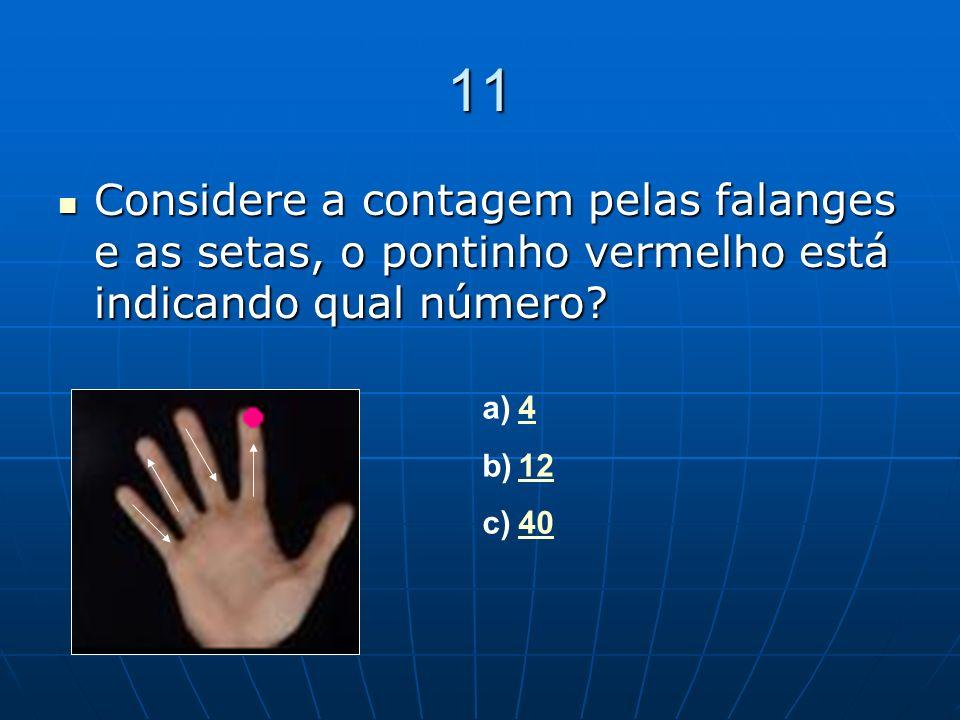 11 Considere a contagem pelas falanges e as setas, o pontinho vermelho está indicando qual número? Considere a contagem pelas falanges e as setas, o p