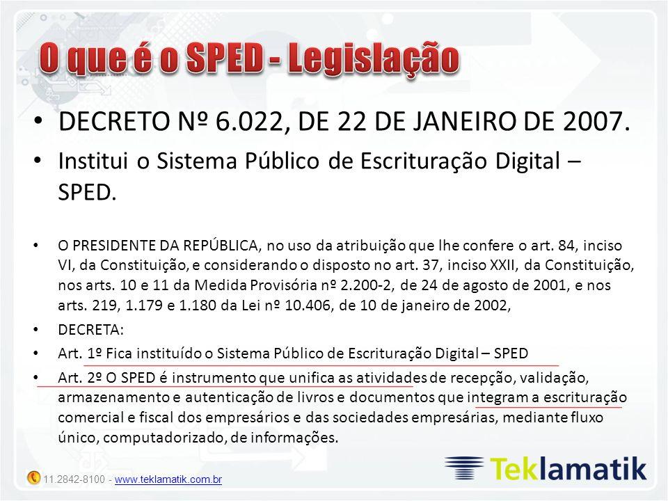 11.2842-8100 - www.teklamatik.com.brwww.teklamatik.com.br DECRETO Nº 6.022, DE 22 DE JANEIRO DE 2007. Institui o Sistema Público de Escrituração Digit