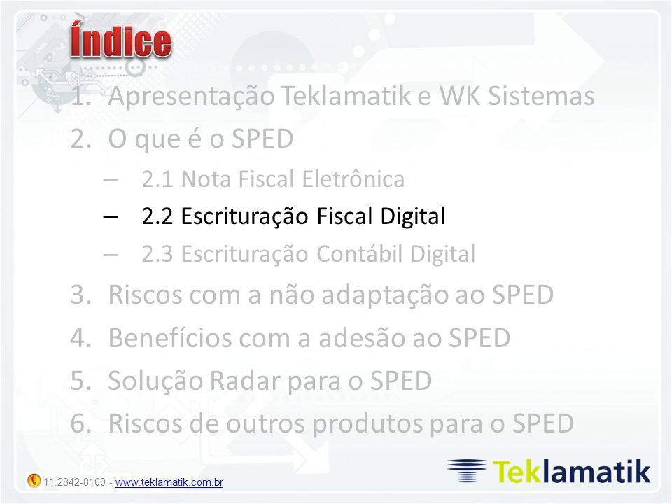 11.2842-8100 - www.teklamatik.com.brwww.teklamatik.com.br 1.Apresentação Teklamatik e WK Sistemas 2.O que é o SPED – 2.1 Nota Fiscal Eletrônica – 2.2