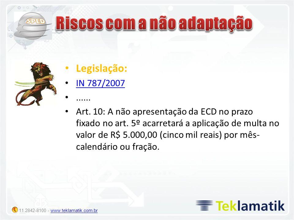 11.2842-8100 - www.teklamatik.com.brwww.teklamatik.com.br Legislação: IN 787/2007...... Art. 10: A não apresentação da ECD no prazo fixado no art. 5º