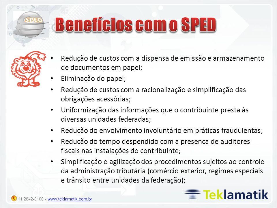 11.2842-8100 - www.teklamatik.com.brwww.teklamatik.com.br Redução de custos com a dispensa de emissão e armazenamento de documentos em papel; Eliminaç
