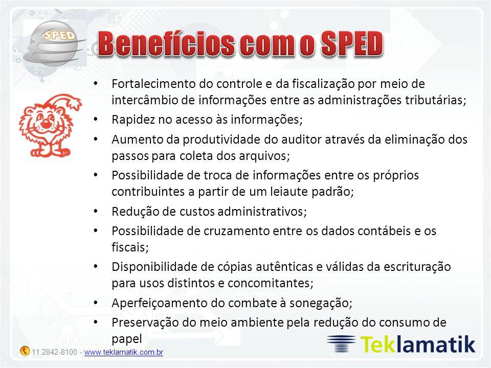 11.2842-8100 - www.teklamatik.com.brwww.teklamatik.com.br Fortalecimento do controle e da fiscalização por meio de intercâmbio de informações entre as