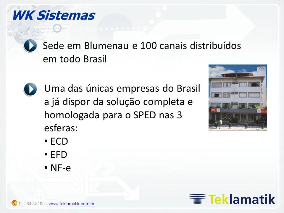 11.2842-8100 - www.teklamatik.com.brwww.teklamatik.com.br WK Sistemas Sede em Blumenau e 100 canais distribuídos em todo Brasil Uma das únicas empresa