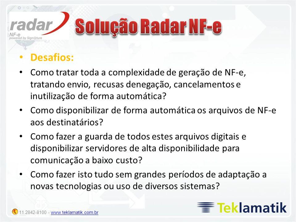 11.2842-8100 - www.teklamatik.com.brwww.teklamatik.com.br Desafios: Como tratar toda a complexidade de geração de NF-e, tratando envio, recusas denega