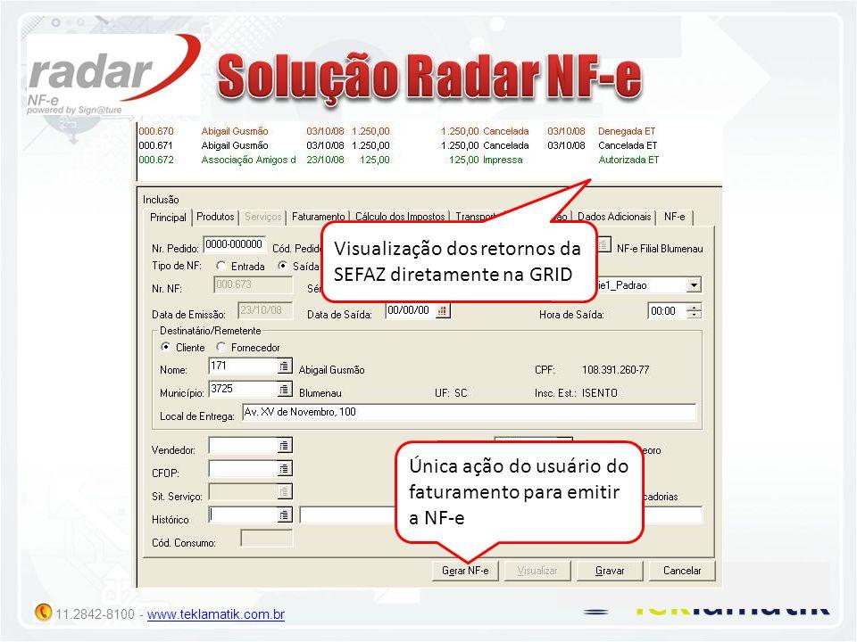 11.2842-8100 - www.teklamatik.com.brwww.teklamatik.com.br Única ação do usuário do faturamento para emitir a NF-e Visualização dos retornos da SEFAZ d