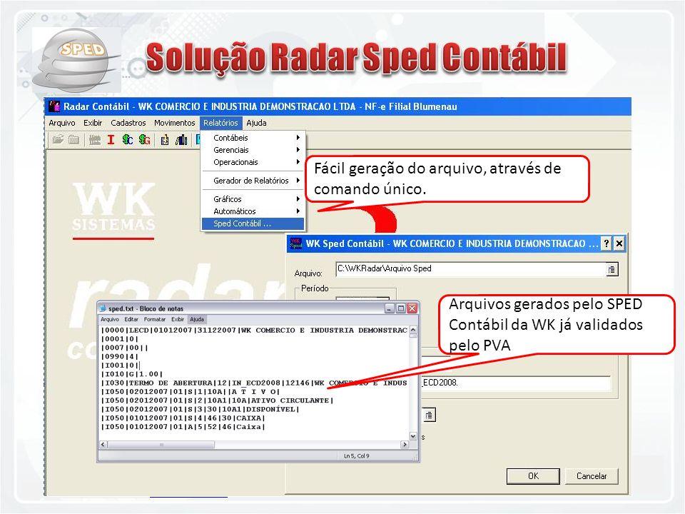 11.2842-8100 - www.teklamatik.com.brwww.teklamatik.com.br Fácil geração do arquivo, através de comando único. Arquivos gerados pelo SPED Contábil da W