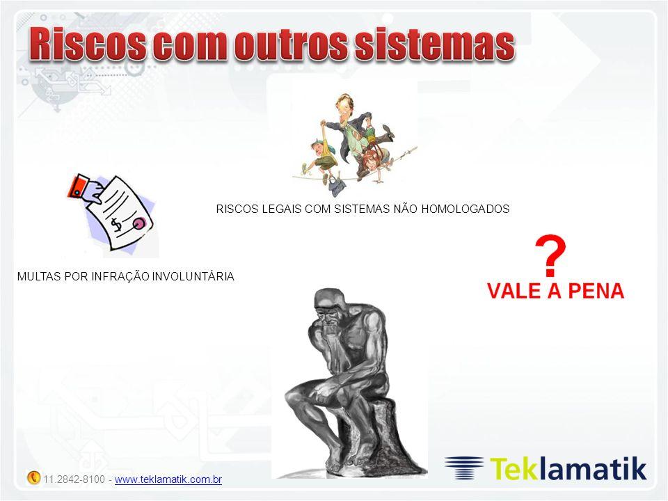 11.2842-8100 - www.teklamatik.com.brwww.teklamatik.com.br MULTAS POR INFRAÇÃO INVOLUNTÁRIA RISCOS LEGAIS COM SISTEMAS NÃO HOMOLOGADOS