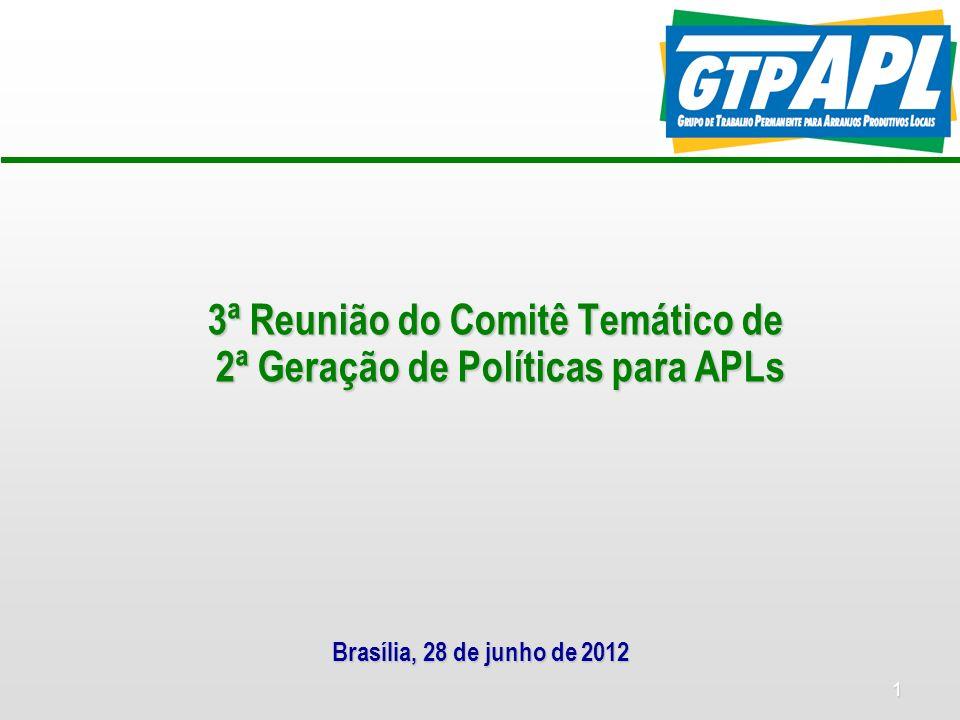 1 3ª Reunião do Comitê Temático de 2ª Geração de Políticas para APLs Brasília, 28 de junho de 2012
