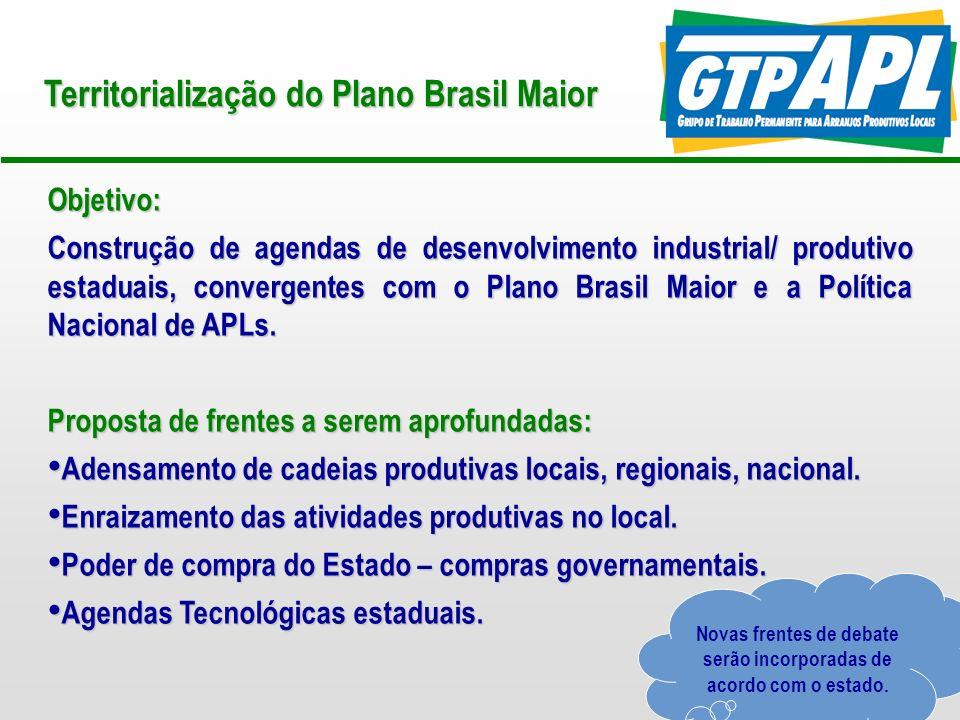 18 Revisão Metodológica do GTP APL 4.Núcleos Estaduais de Apoio a APLs: Apoio à estruturação e formalização.