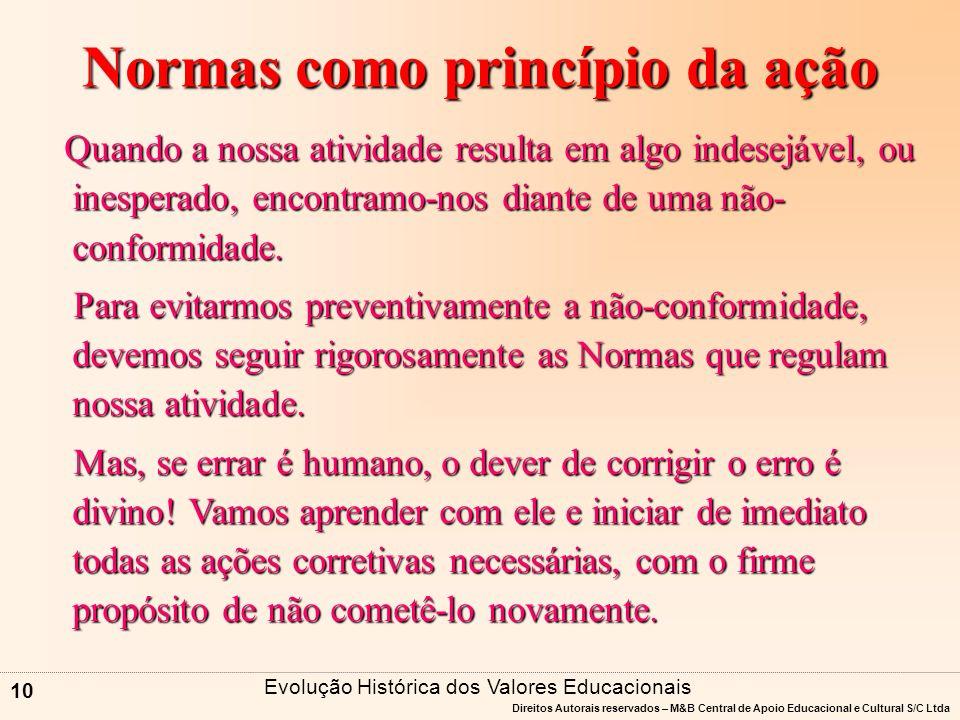 Direitos Autorais reservados – M&B Central de Apoio Educacional e Cultural S/C Ltda 9 Normas como princípio da ação Bíblia => Tabuada da Vida.