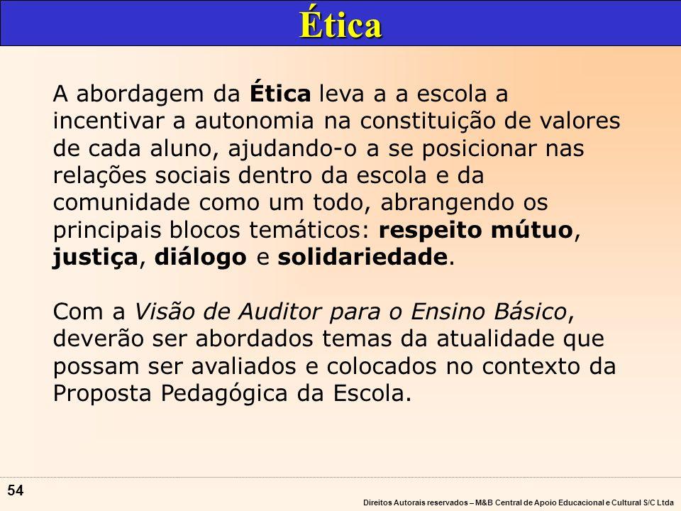 Direitos Autorais reservados – M&B Central de Apoio Educacional e Cultural S/C Ltda 53 ÉTICA MEIO AMBIENTE PLURALIDADE CULTURAL TRABALHO E CONSUMO SAÚDE EDUCAÇÃO SEXUAL