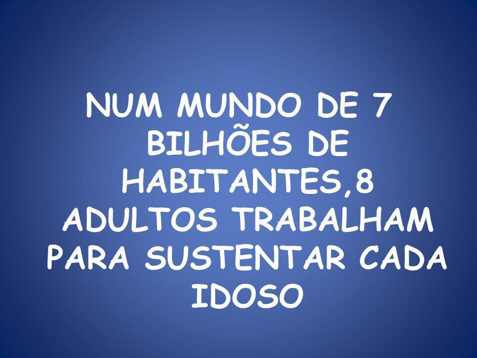 NUM MUNDO DE 7 BILHÕES DE HABITANTES,8 ADULTOS TRABALHAM PARA SUSTENTAR CADA IDOSO