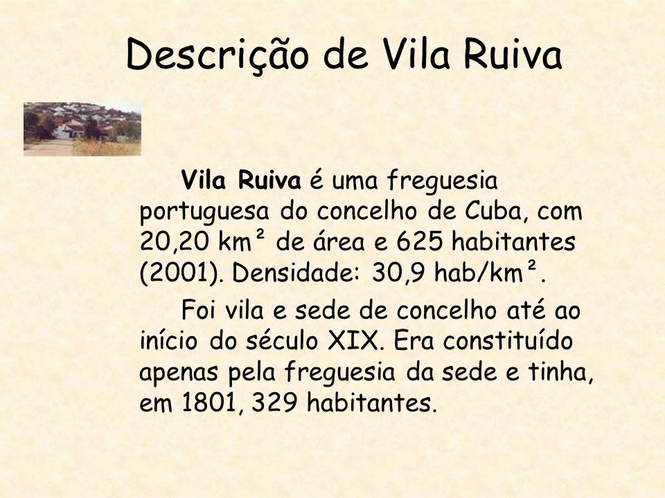 Descrição de Vila Ruiva Vila Ruiva é uma freguesia portuguesa do concelho de Cuba, com 20,20 km² de área e 625 habitantes (2001).