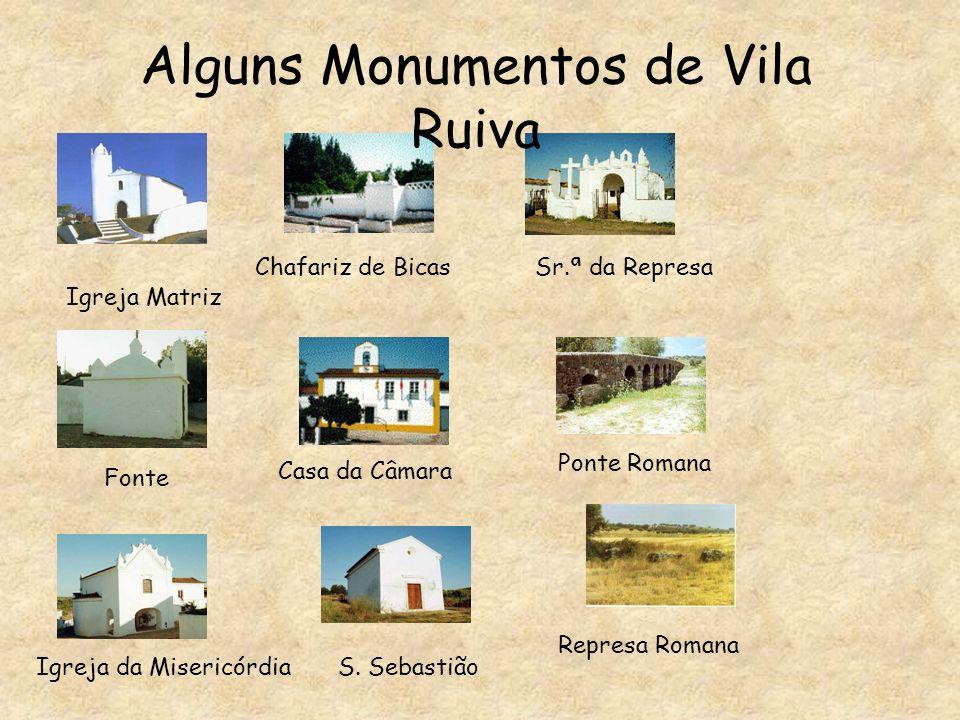 Alguns Monumentos de Vila Ruiva Igreja Matriz Chafariz de BicasSr.ª da Represa Fonte Casa da Câmara Ponte Romana Igreja da MisericórdiaS.