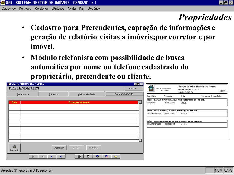 Gerador de Relatórios com fotos e saída em três idiomas; Propriedades