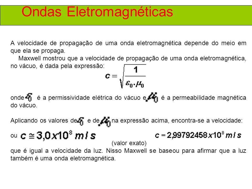 Ondas Eletromagnéticas Podemos resumir as características das ondas eletromagnéticas no seguinte: São formadas por campos elétricos e campos magnéticos variáveis.
