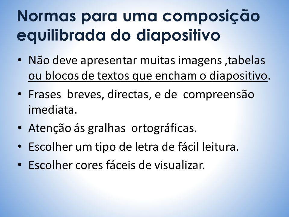 Normas para uma composição equilibrada do diapositivo Não deve apresentar muitas imagens,tabelas ou blocos de textos que encham o diapositivo. Frases