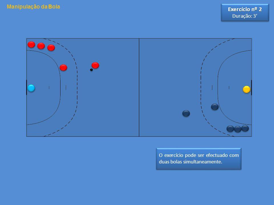 O exercício pode ser efectuado com duas bolas simultaneamente. Manipulação da Bola Exercício nº 2 Duração: 3 Exercício nº 2 Duração: 3