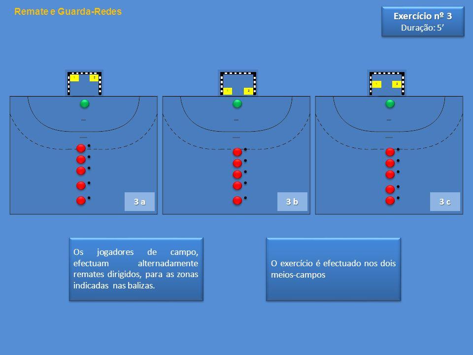 O exercício é efectuado nos dois meios-campos Os jogadores de campo, efectuam alternadamente remates dirigidos, para as zonas indicadas nas balizas. R
