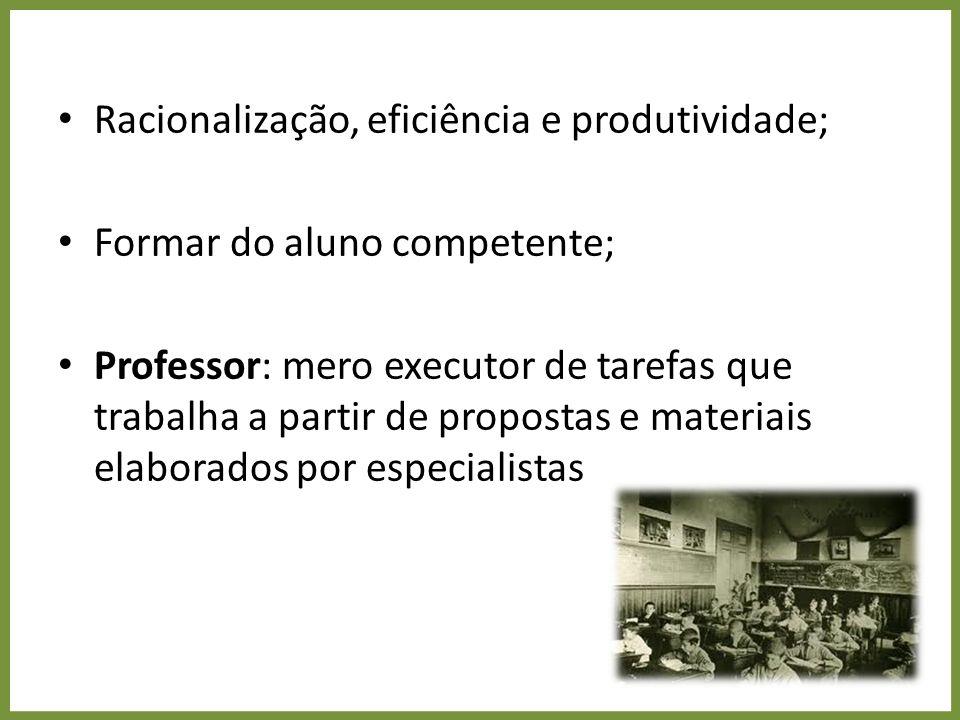 Pedagogias do aprender a aprender Trabalhador flexível e polivante; Trabalho coletivo (grupos); Formação do indivíduo autônomo; Resolução de problemas; Professor: mediador do processo de produção de conhecimento