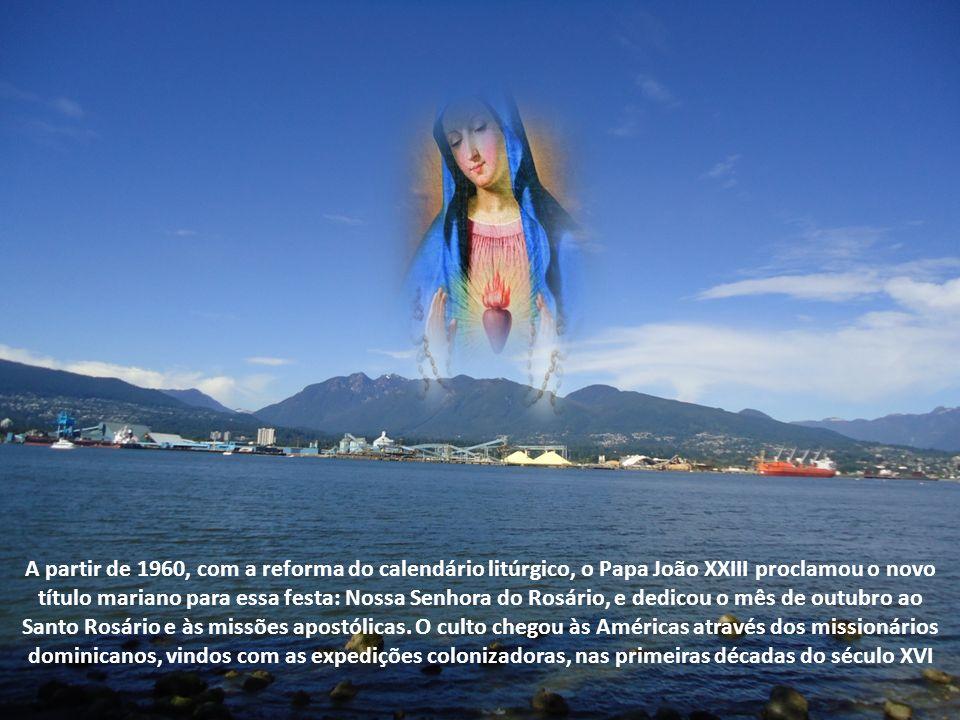A partir de 1960, com a reforma do calendário litúrgico, o Papa João XXIII proclamou o novo título mariano para essa festa: Nossa Senhora do Rosário, e dedicou o mês de outubro ao Santo Rosário e às missões apostólicas.