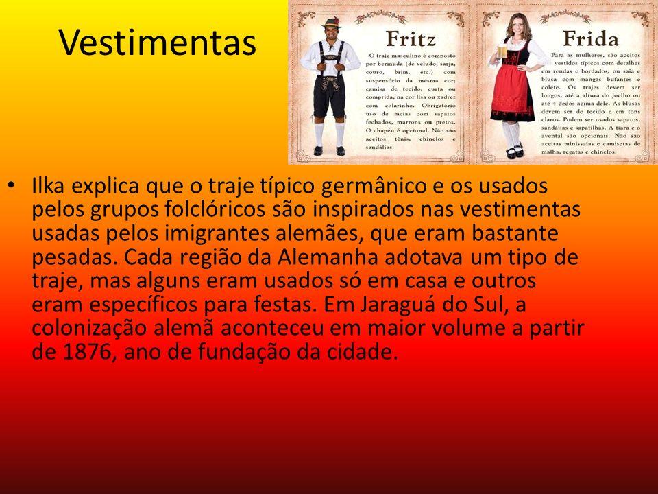 Vestimentas Ilka explica que o traje típico germânico e os usados pelos grupos folclóricos são inspirados nas vestimentas usadas pelos imigrantes alem