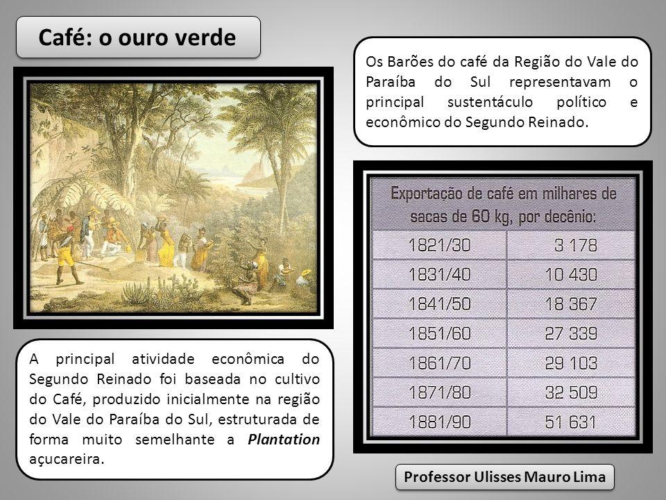 Café: o ouro verde A principal atividade econômica do Segundo Reinado foi baseada no cultivo do Café, produzido inicialmente na região do Vale do Para